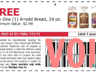 Free Arnold Bread Coupon for BJs Wholesale Club Members