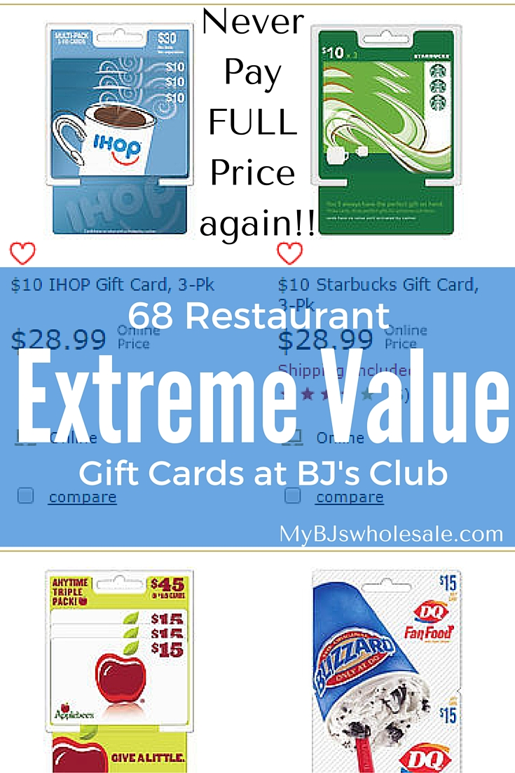 68 restaurant gift cards at extreme value at bjs wholesale club