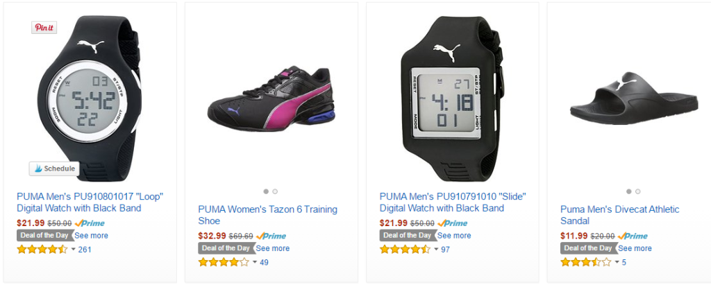 puma shoes sandals watches on amazon deal