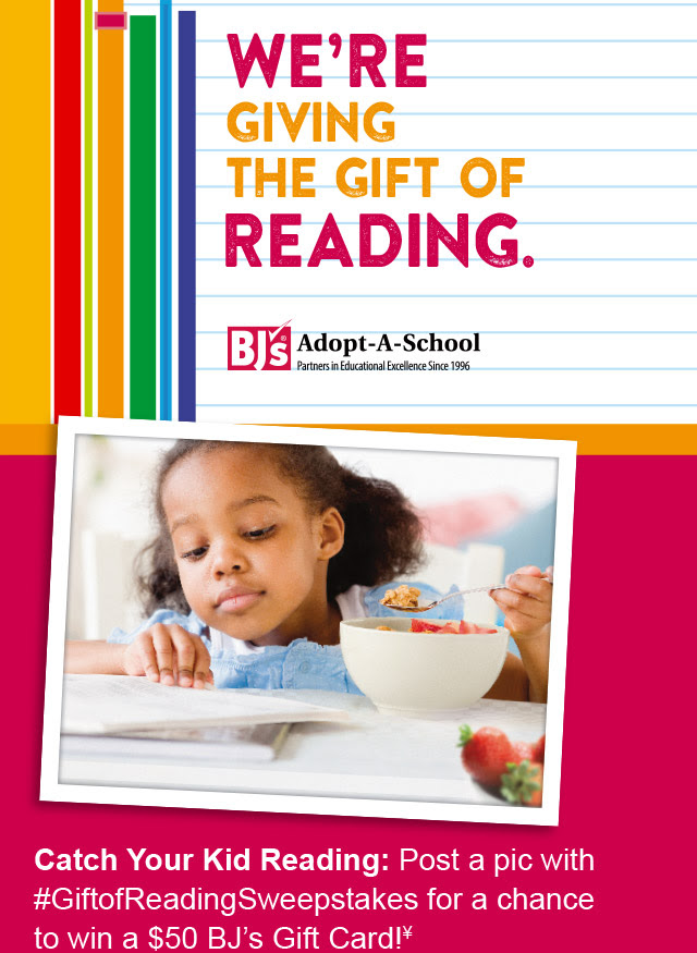 enter to win a $50 BJs gift card with the adopt a school program