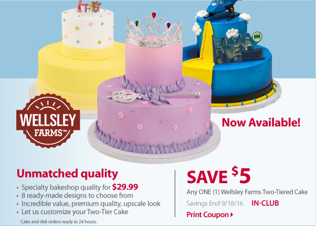 Print a USD5 Coupon for BJ s new two-tiered cake