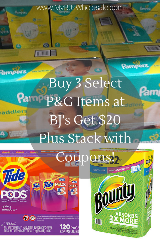 BJ's gift card when you buy 3 select p&G items