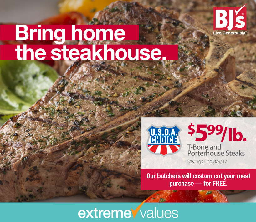 BJs extreme value on t bone steak and porterhouse