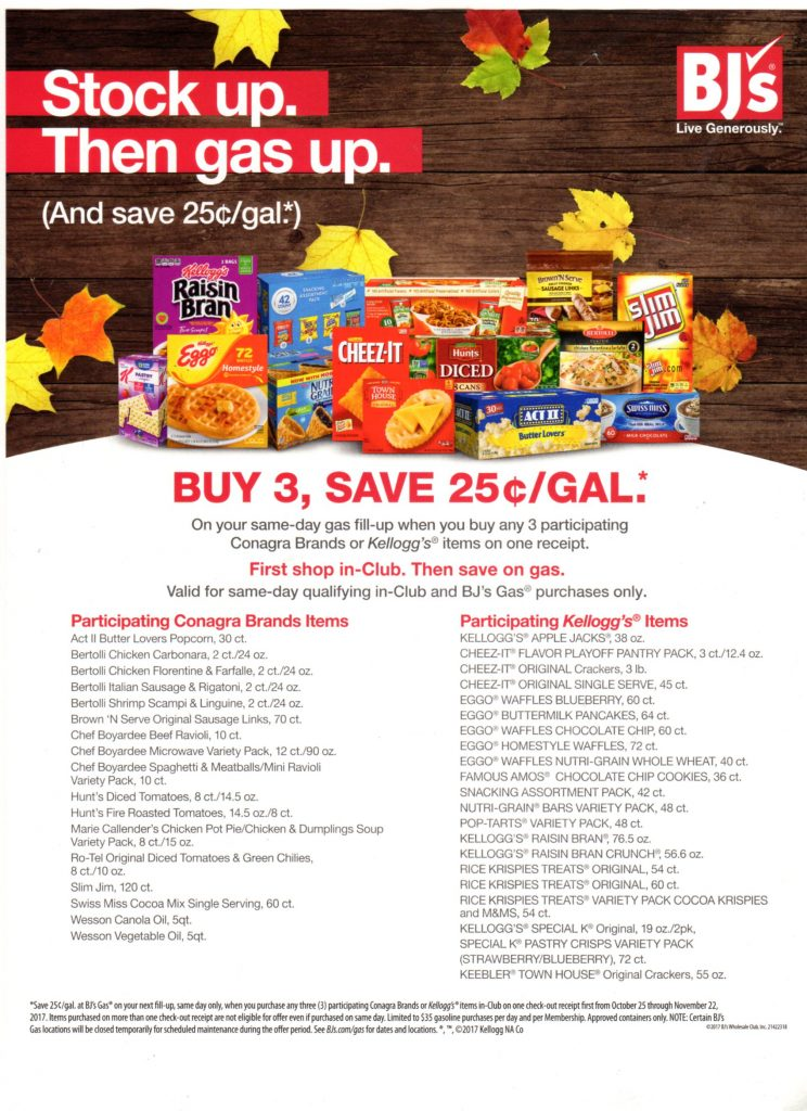 BJs new gas promotion starting Oct 25 - nov 22