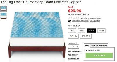 the big one gel memory foam topper