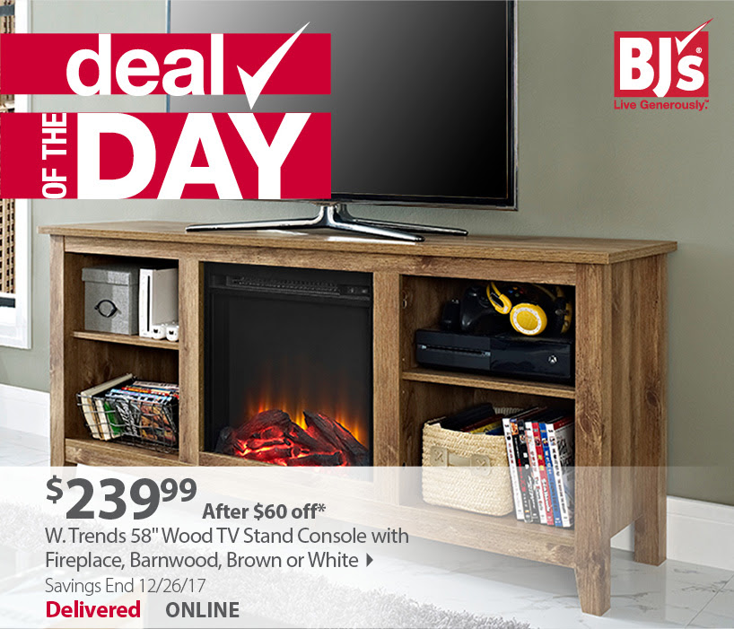 """Furniture Deal Of The Day: BJ's Deal Of The Day: 58"""" Wood TV Stand Console With"""