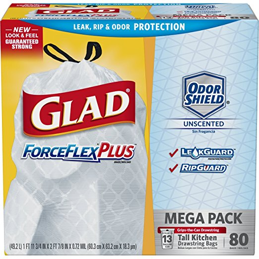 80 ct. Glad ForceFlexPlus Tall Kitchen Drawstring Trash Bags as low as $9.25