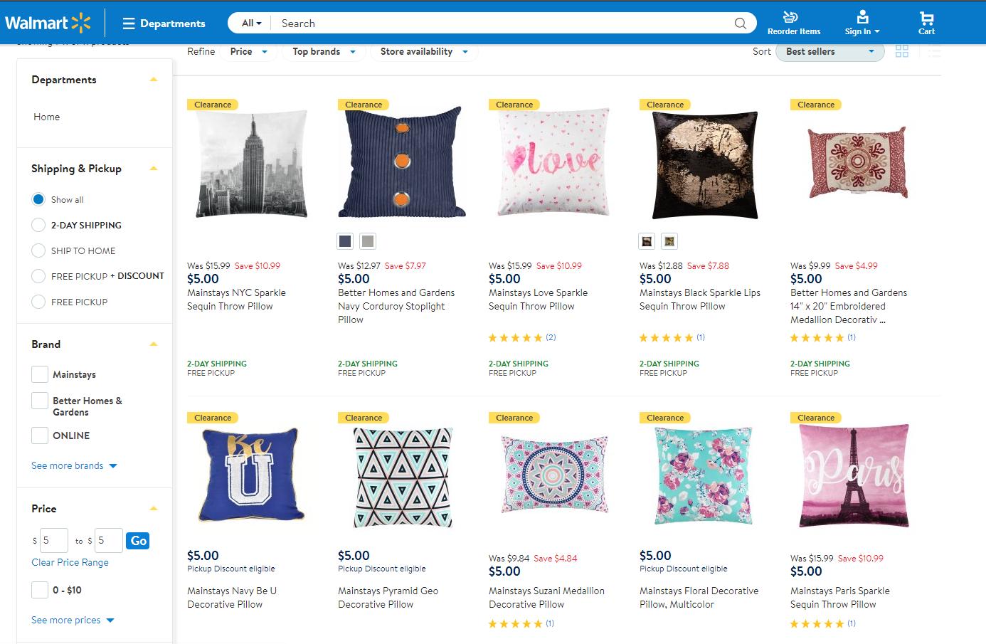 $5 Throw Pillows at Walmart