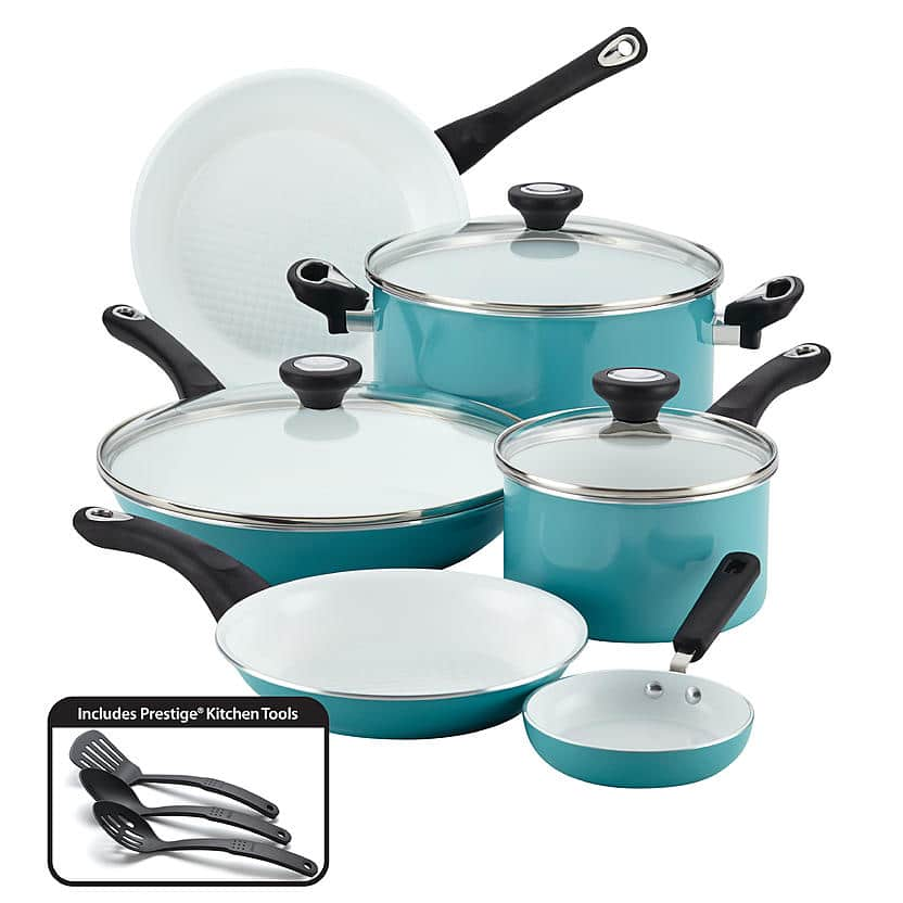 Sears Farberware 12 pc Cookware Set- Aqua $59 was $100