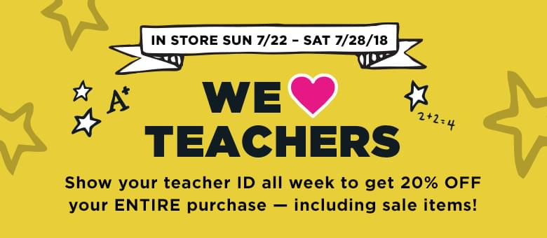 TEACHERS! Michael's 20% off Purchase This Week!