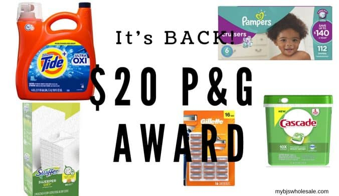 $20 P&G award at BJs wholesale club