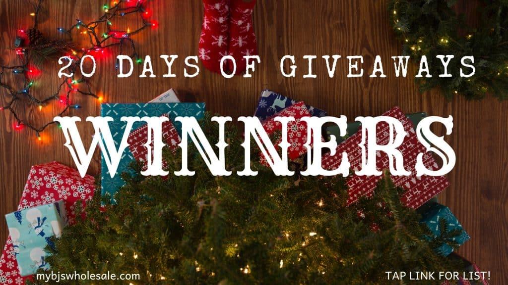 20 days of giveaways winner list