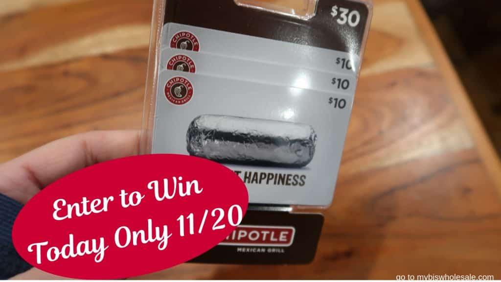 chipotle gift card mybjswholesale giveaway