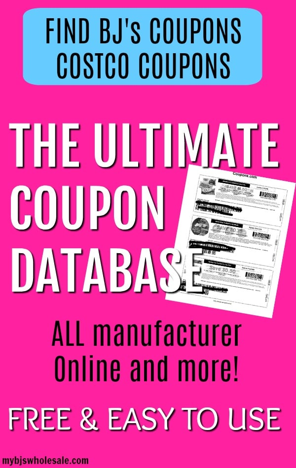 bjs coupons database and more