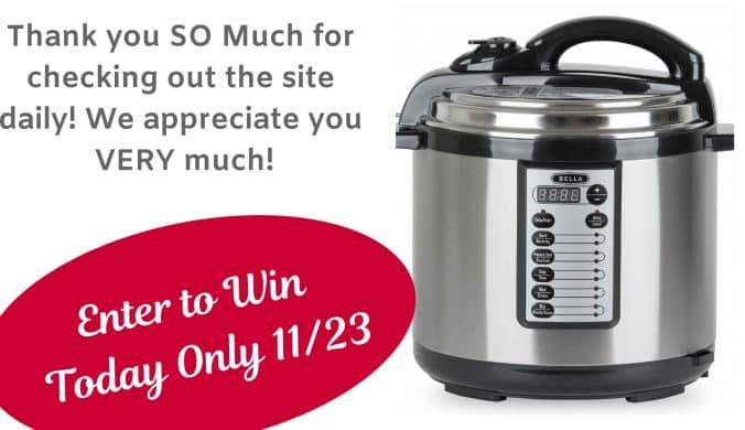 bella pressure cooker giveaway