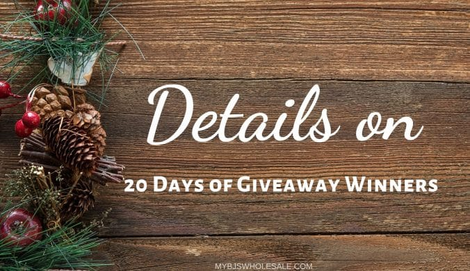 update on 20 days of giveaway winners for mybjswholesale