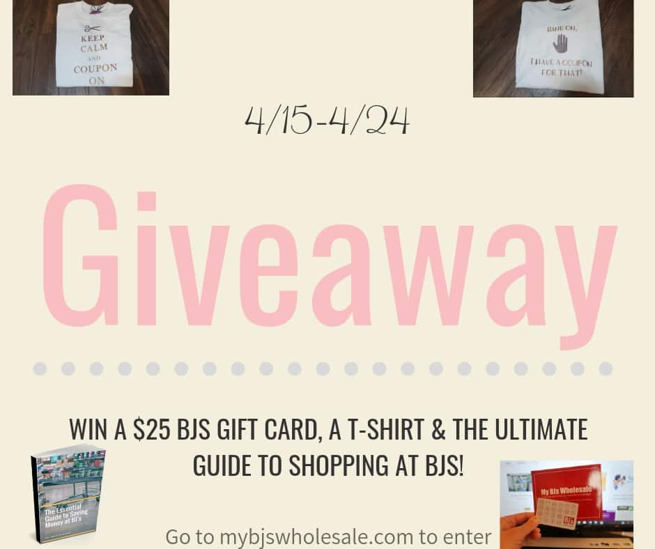 Giveaway to win a $25 bjs gift card t-shirt and more