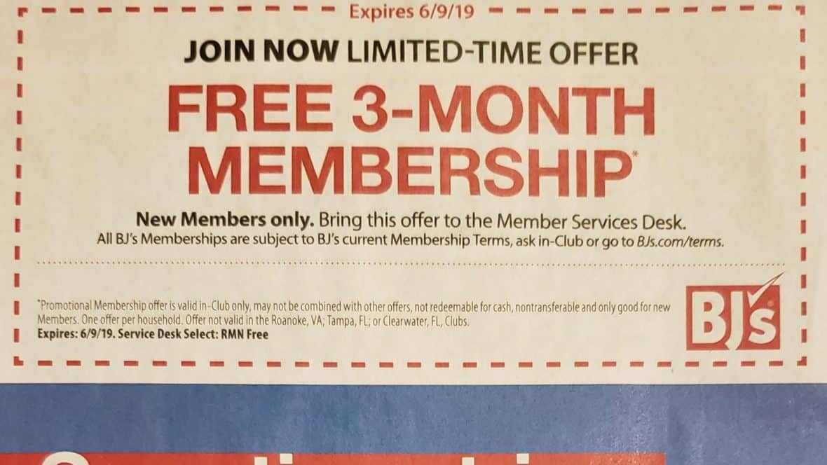 3-month free trial to Bjs wholesale club