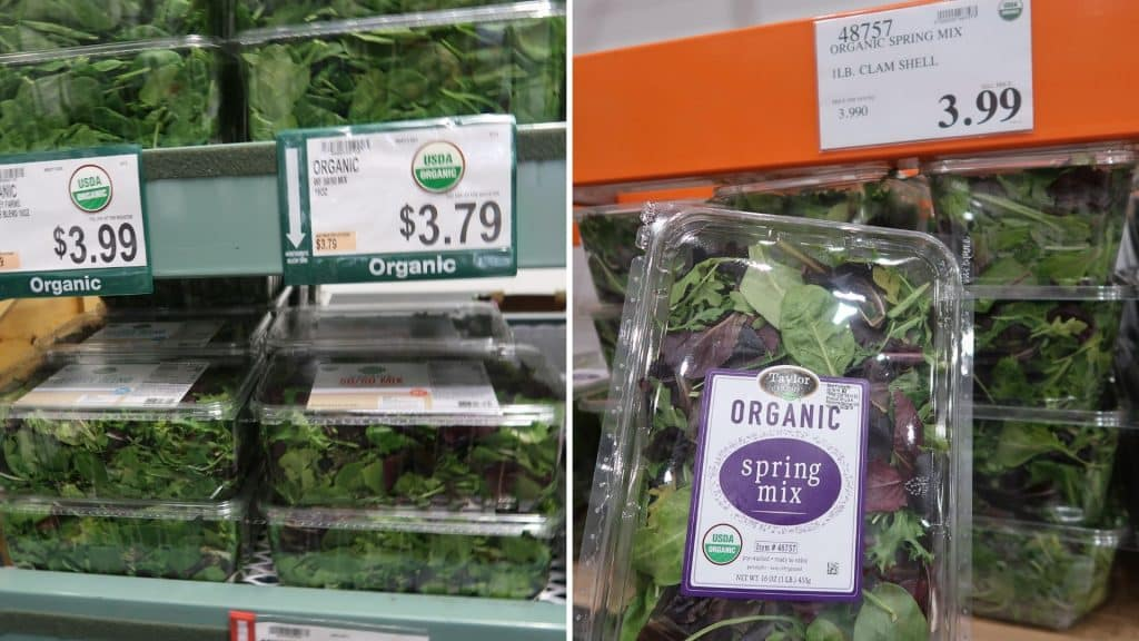 spring mix prices at Bjs and costco