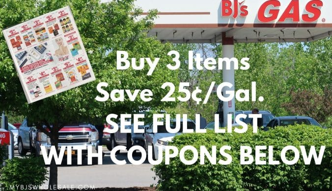 buy 3 save 25 cents off gas at BJs