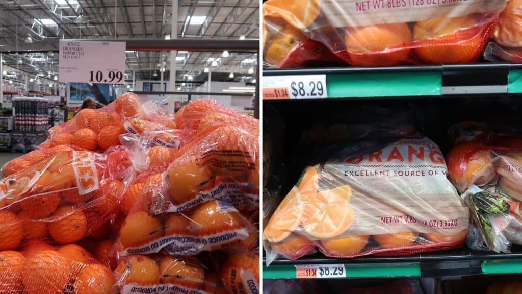 orange prices at Bjs and costco